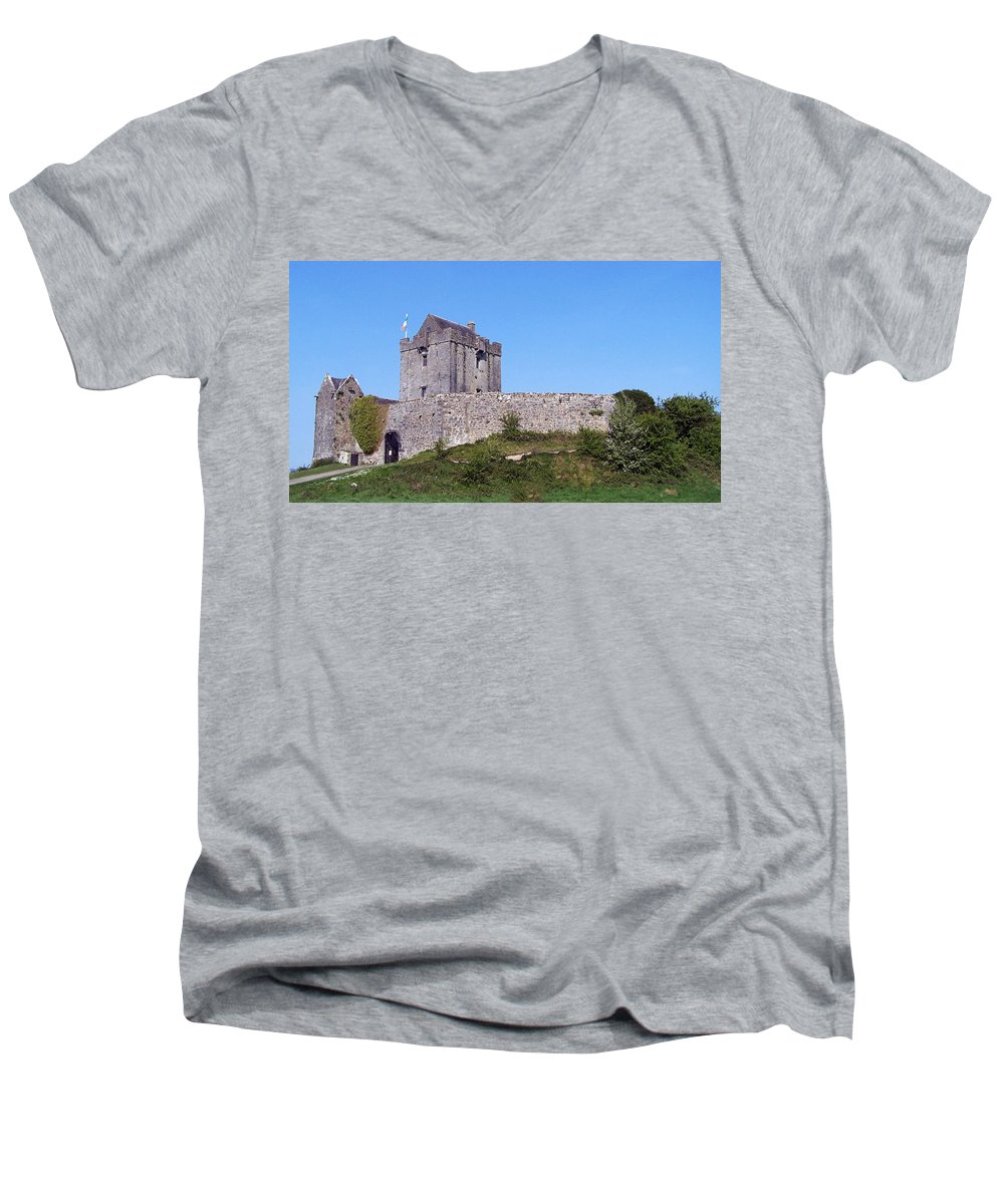 Irish Men's V-Neck T-Shirt featuring the photograph Dunguaire Castle Kinvara Ireland by Teresa Mucha