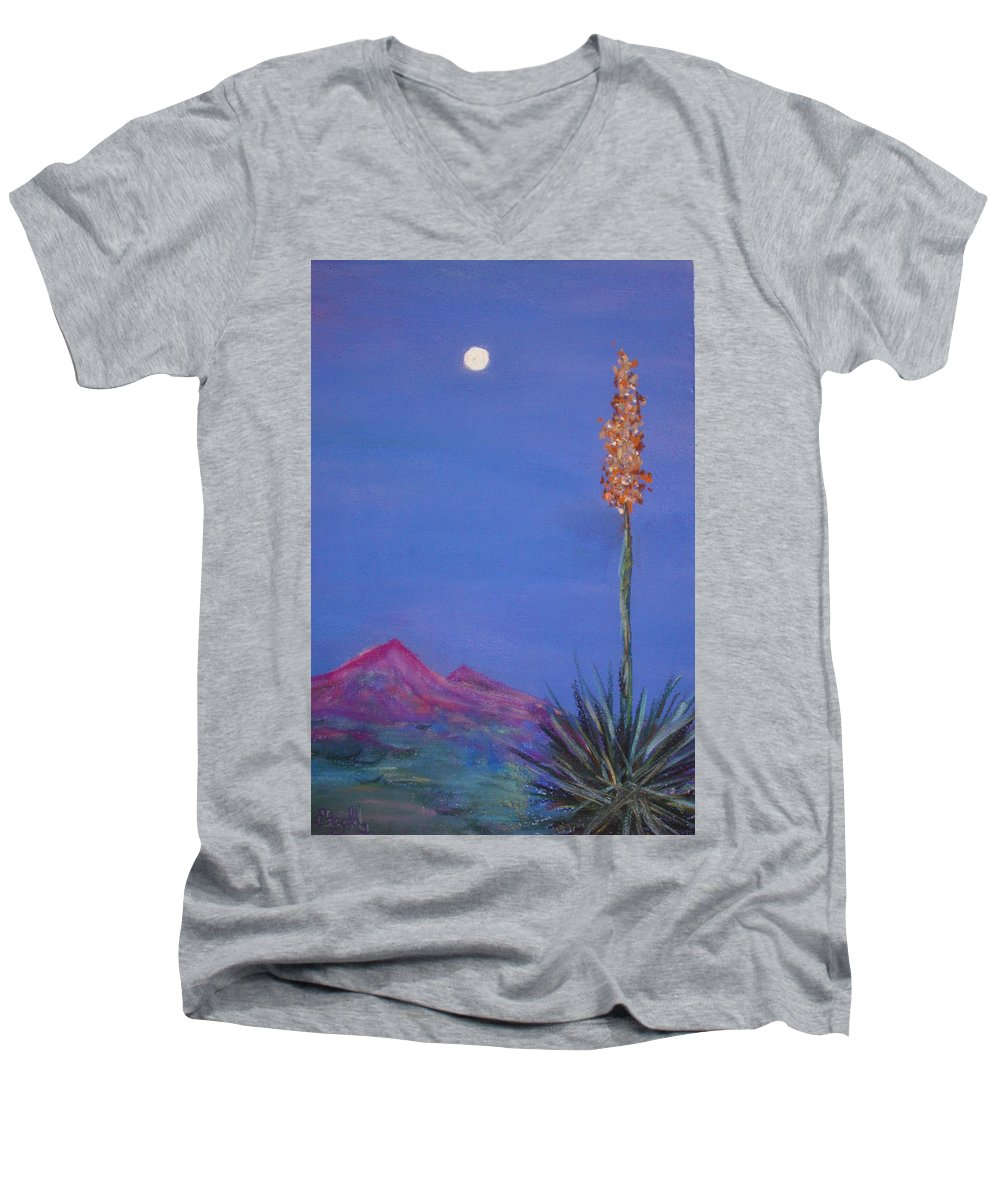 Evening Men's V-Neck T-Shirt featuring the painting Dusk by Melinda Etzold