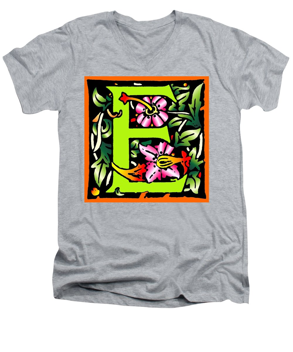 Alphabet Men's V-Neck T-Shirt featuring the digital art E In Green by Kathleen Sepulveda