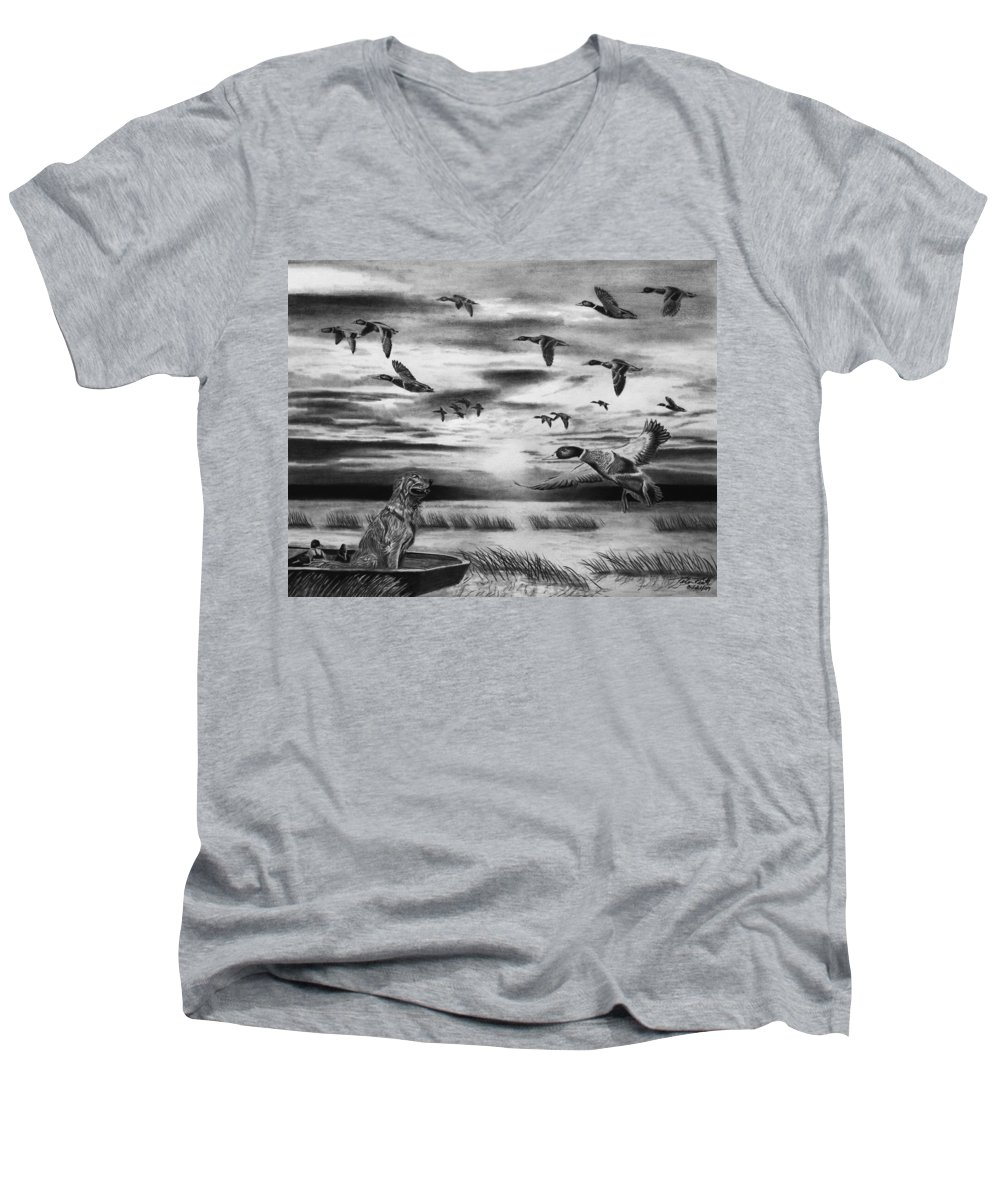 Early Morning Men's V-Neck T-Shirt featuring the drawing Early Morning by Peter Piatt
