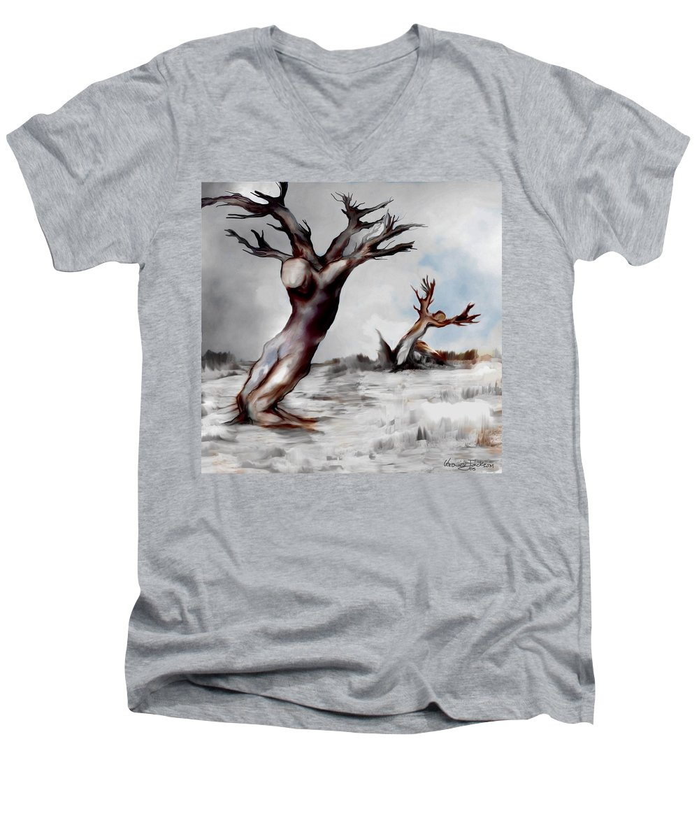 Trees Soul Nature Sky Storm Freedom Men's V-Neck T-Shirt featuring the mixed media Earthbound by Veronica Jackson