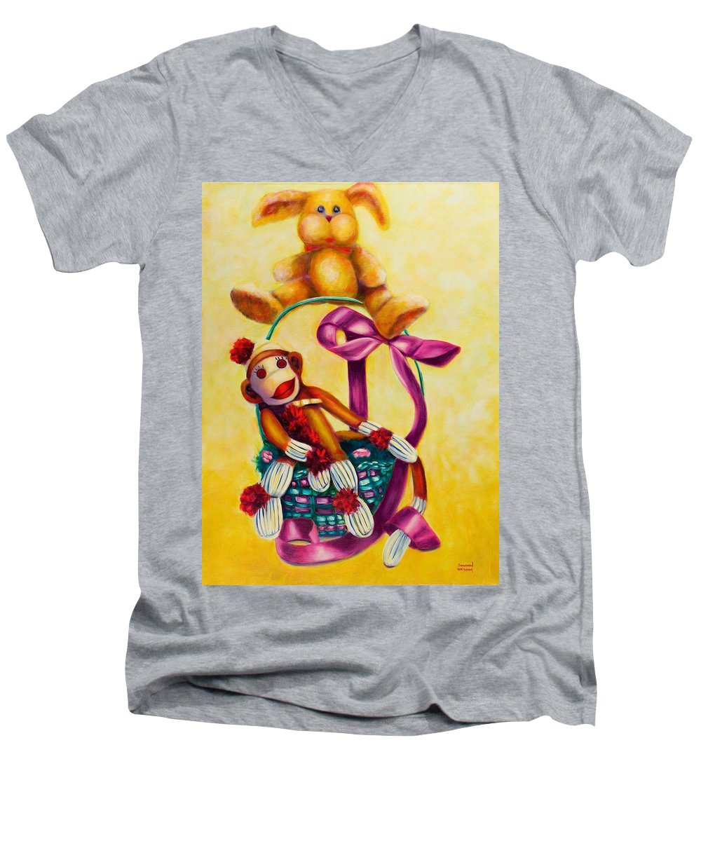Easter Men's V-Neck T-Shirt featuring the painting Easter Made Of Sockies by Shannon Grissom
