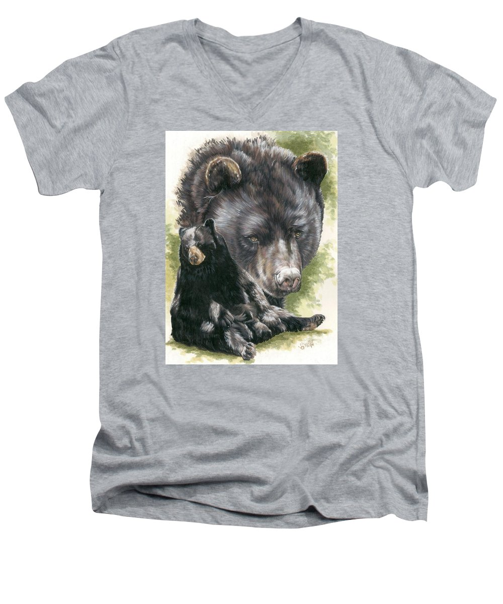 Black Bear Men's V-Neck T-Shirt featuring the mixed media Ebony by Barbara Keith