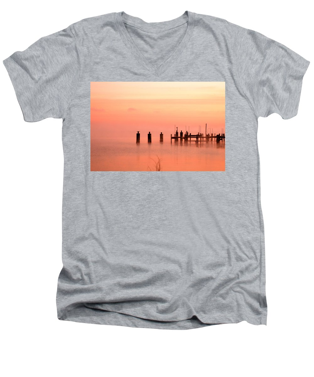Clay Men's V-Neck T-Shirt featuring the photograph Eery Morn by Clayton Bruster