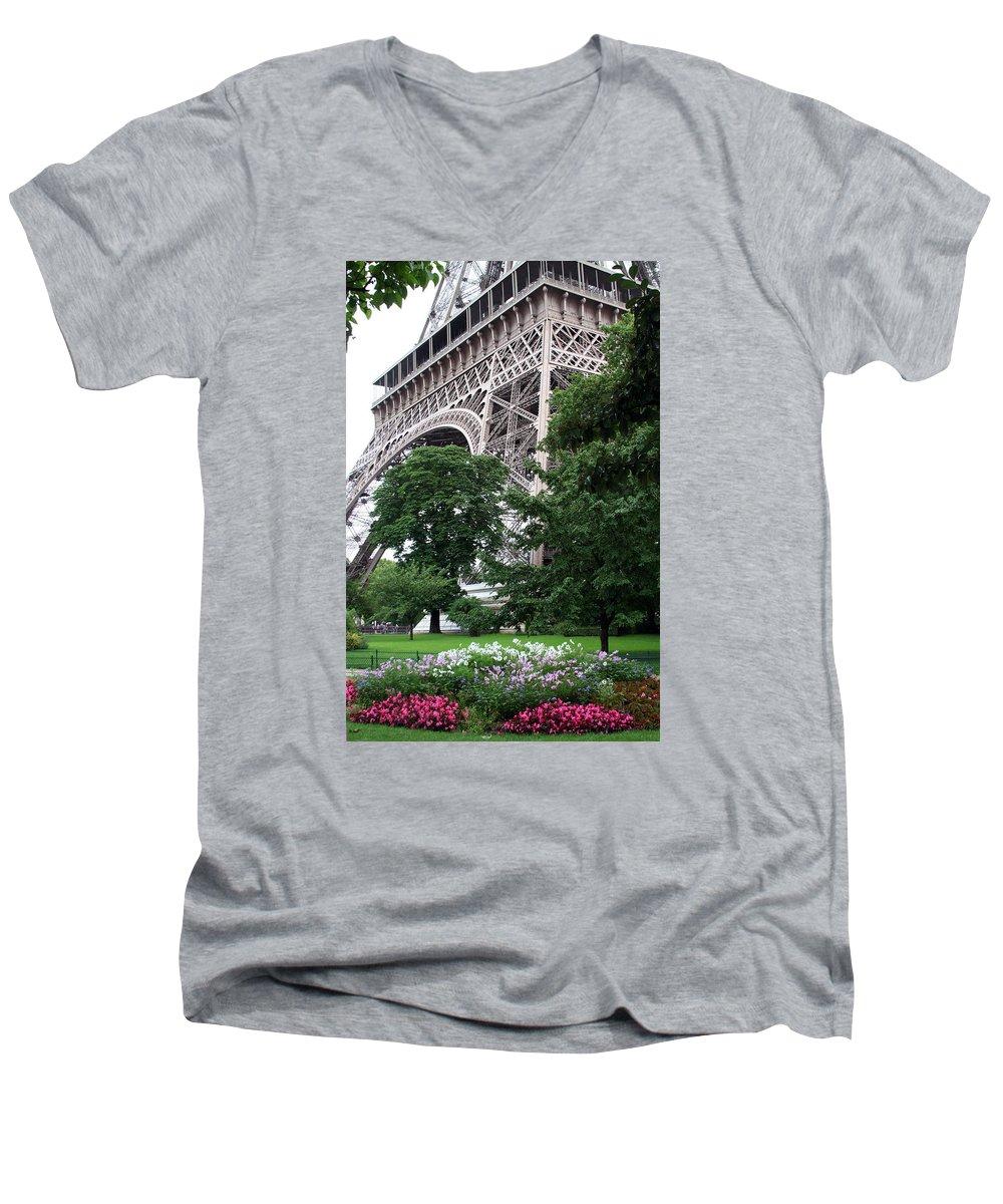 Eiffel Men's V-Neck T-Shirt featuring the photograph Eiffel Tower Garden by Margie Wildblood
