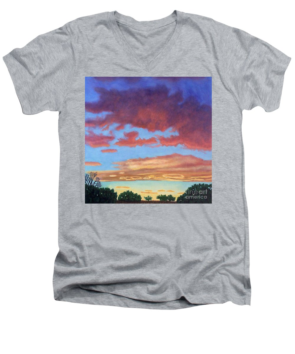 Sunset Men's V-Neck T-Shirt featuring the painting El Dorado Sunset by Brian Commerford