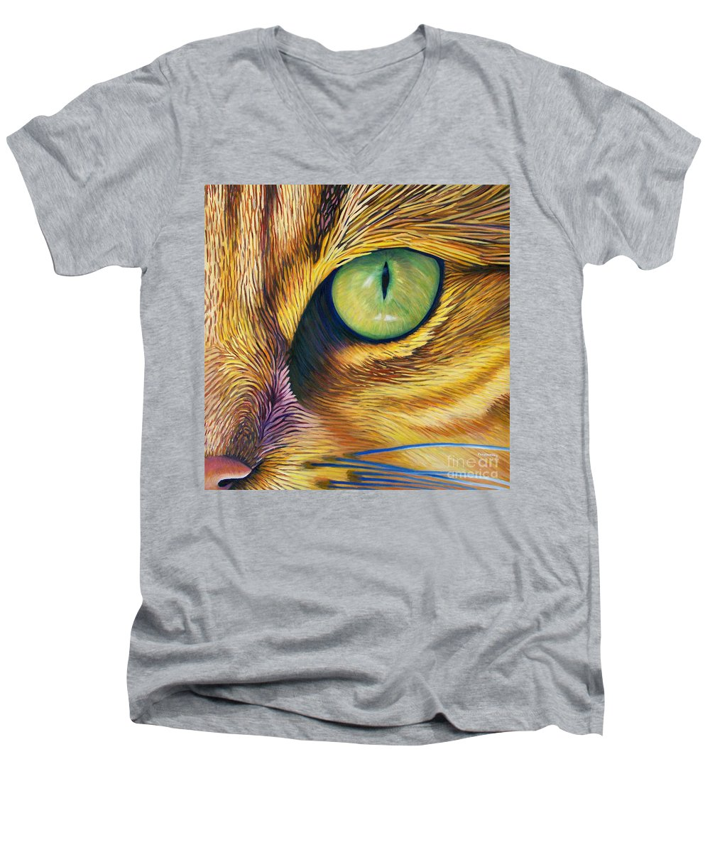 Cat Men's V-Neck T-Shirt featuring the painting El Gato by Brian Commerford
