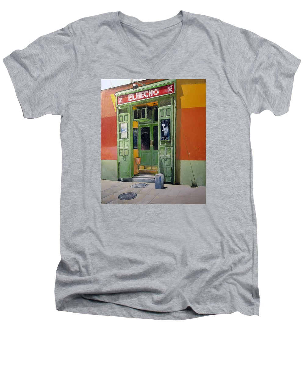 Hecho Men's V-Neck T-Shirt featuring the painting El Hecho Pub by Tomas Castano