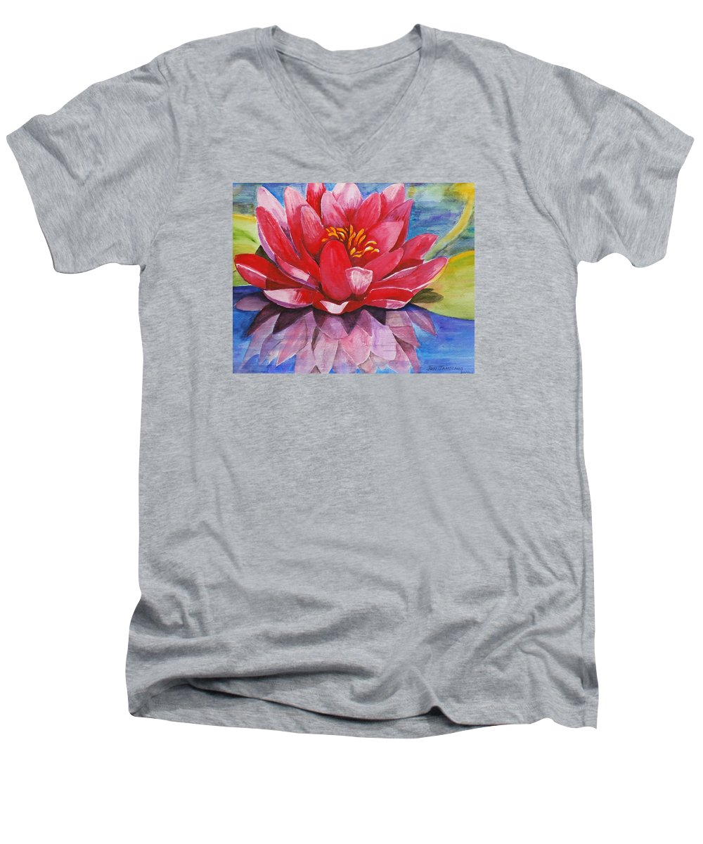 Lily Men's V-Neck T-Shirt featuring the painting Ela Lily by Jun Jamosmos