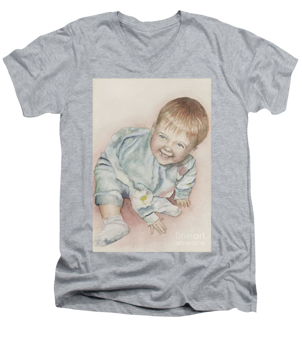 Girl Men's V-Neck T-Shirt featuring the painting Elise by Nadine Rippelmeyer