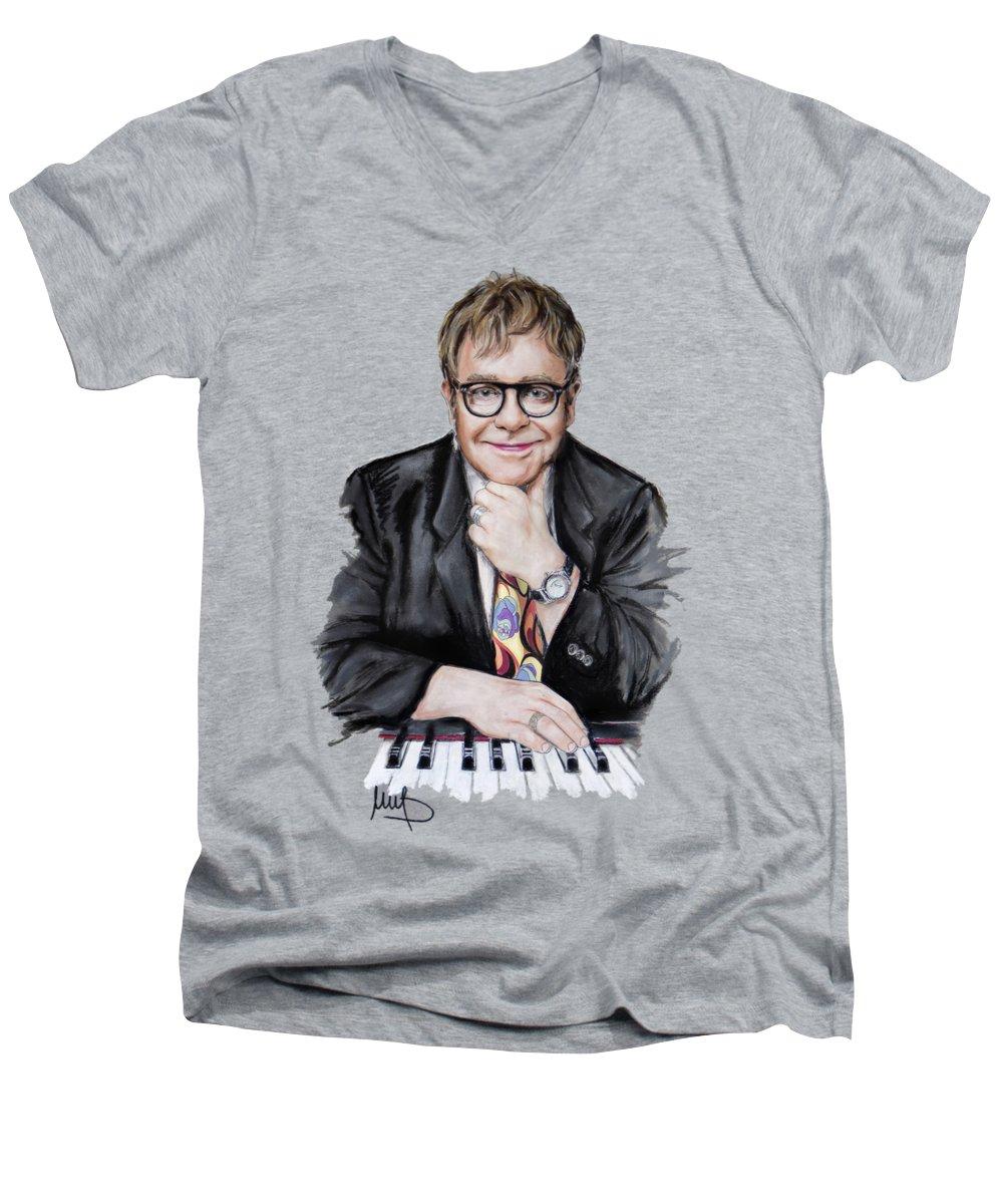 Elton John V-Neck T-Shirts