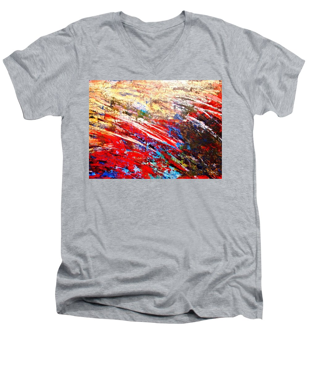 Expressionism Men's V-Neck T-Shirt featuring the painting Emotional Explosion by Natalie Holland