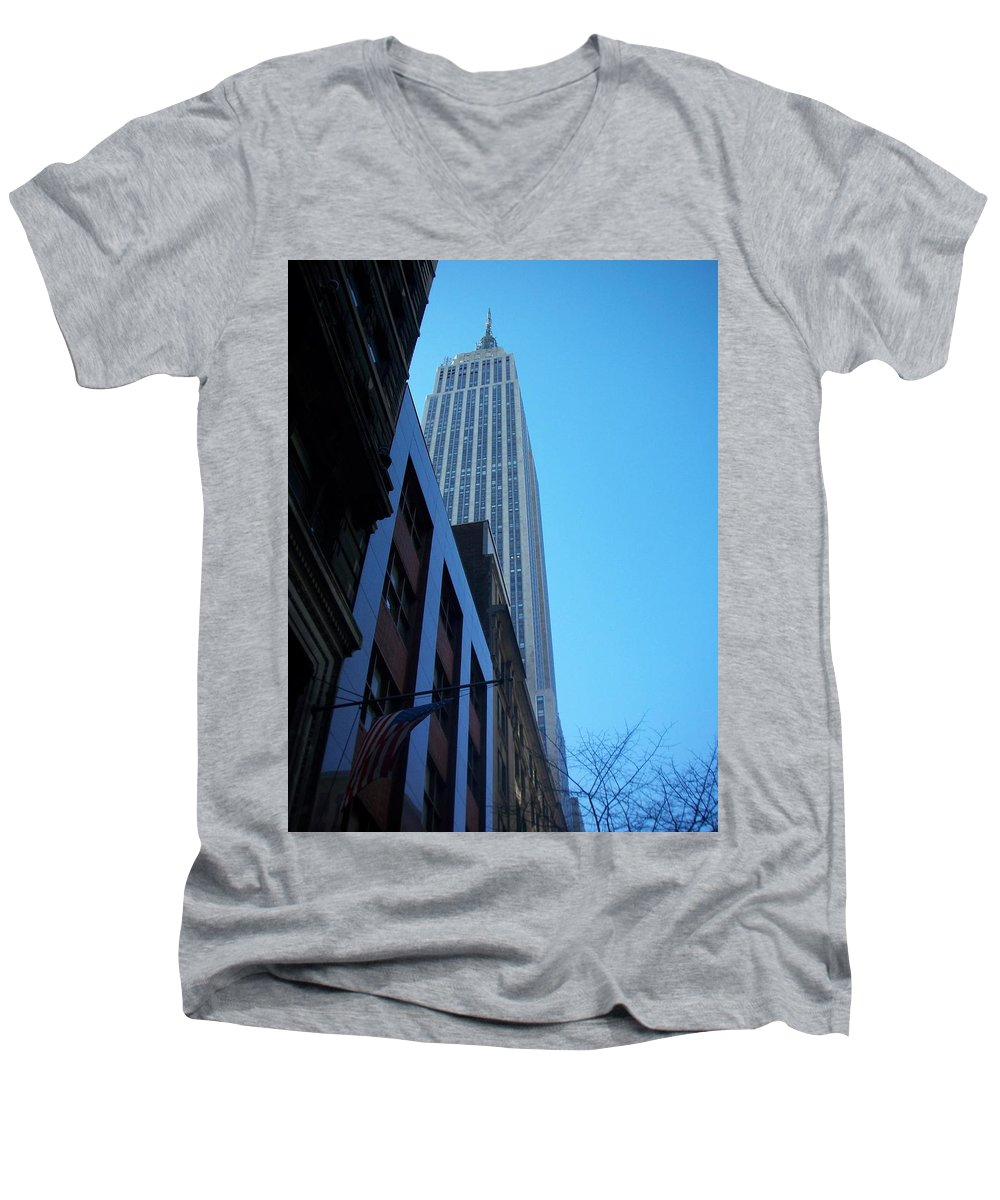 Emoire State Building Men's V-Neck T-Shirt featuring the photograph Empire State 1 by Anita Burgermeister