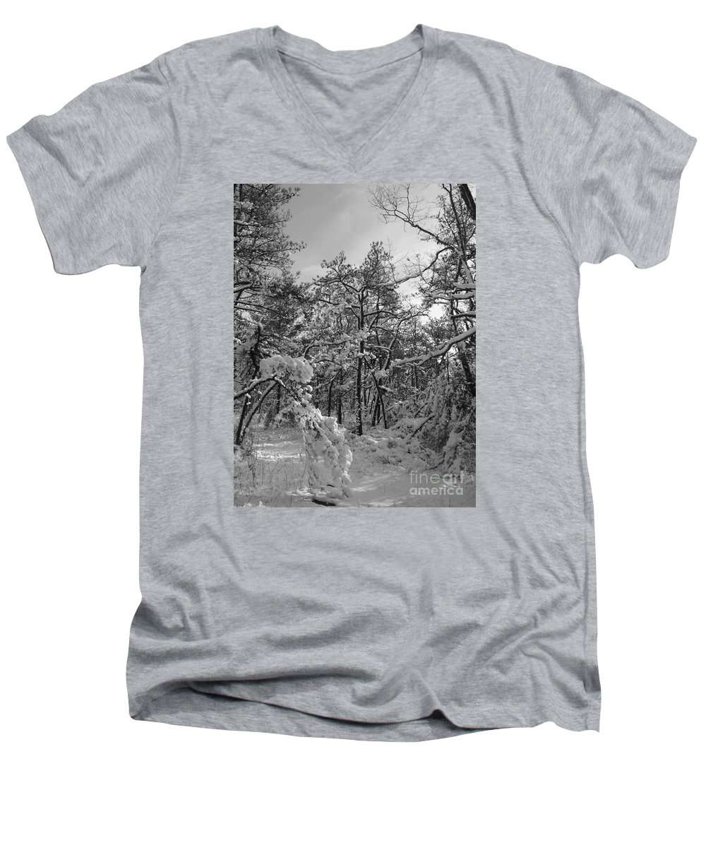 Black And White Men's V-Neck T-Shirt featuring the photograph Empty Travel by Chad Natti