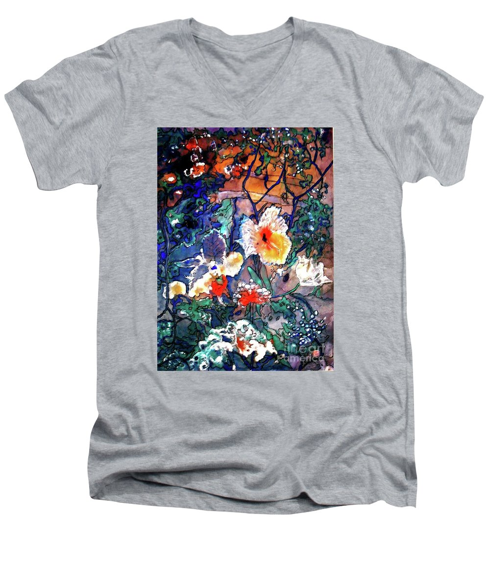 Landscape Men's V-Neck T-Shirt featuring the painting Enchanted Garden by Norma Boeckler