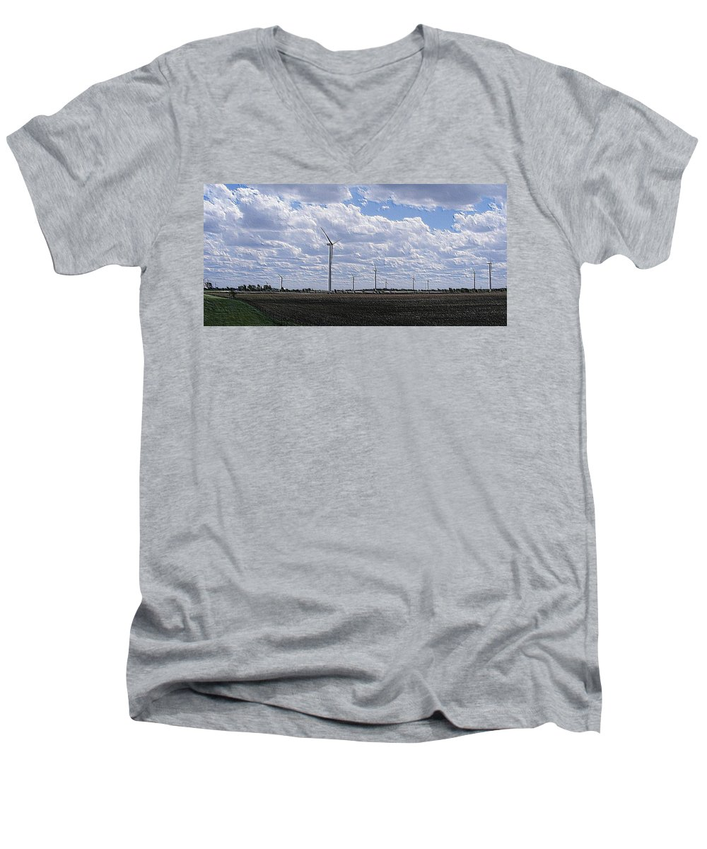 Wind Men's V-Neck T-Shirt featuring the photograph Etched In Stone by Ed Smith