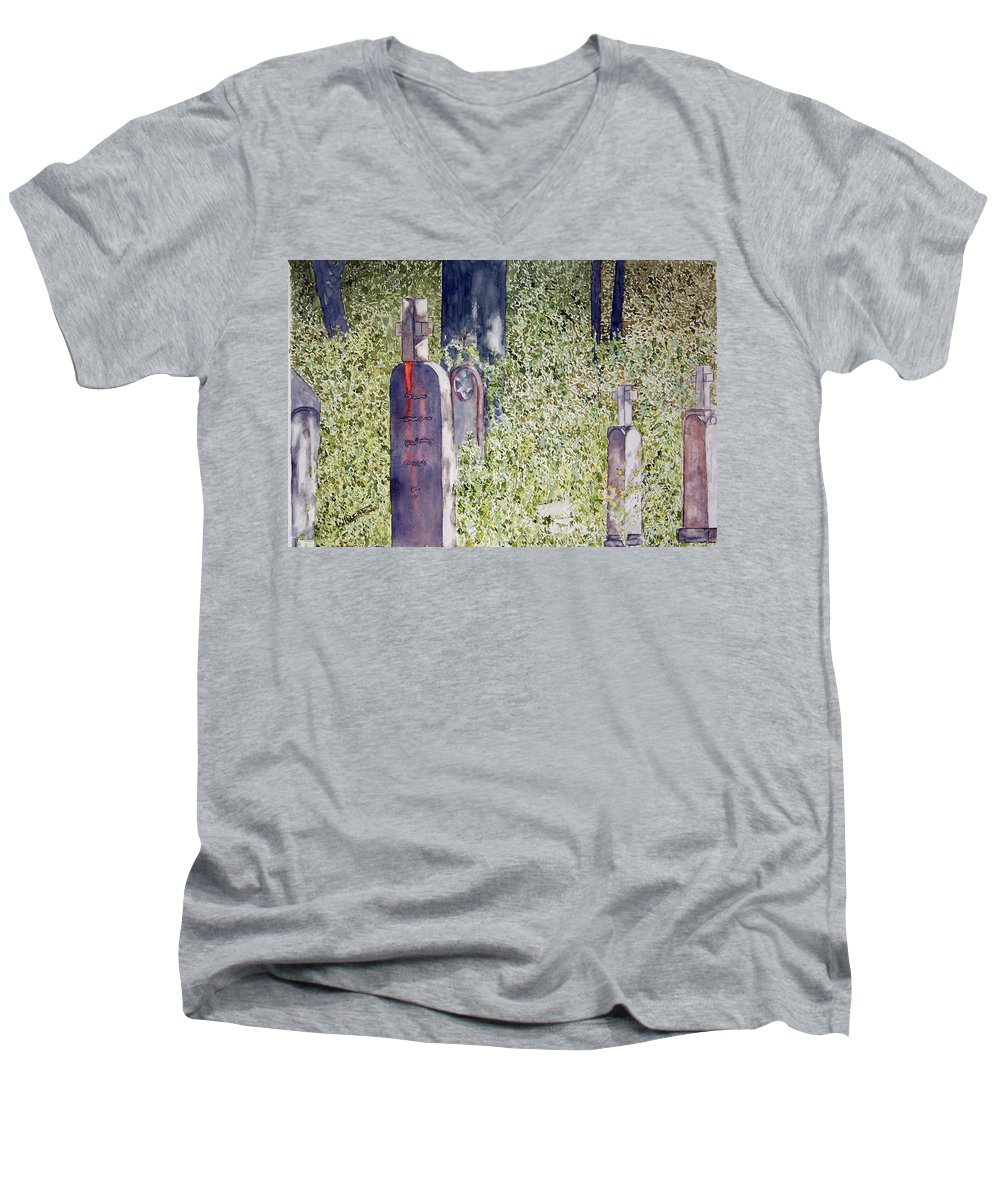 Cemeteries Men's V-Neck T-Shirt featuring the painting Eternity In Hoonah by Larry Wright