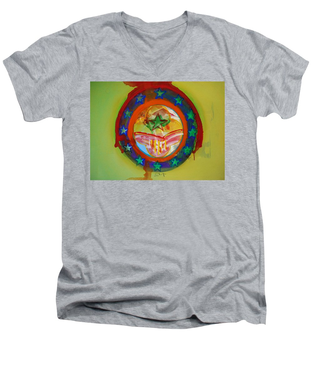 Men's V-Neck T-Shirt featuring the painting European Union by Charles Stuart