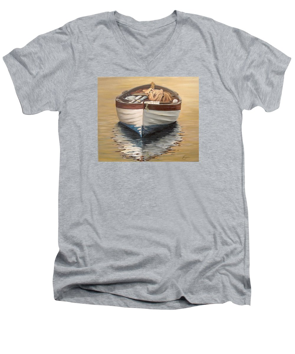 Boats Reflection Seascape Water Men's V-Neck T-Shirt featuring the painting Evening Boat by Natalia Tejera