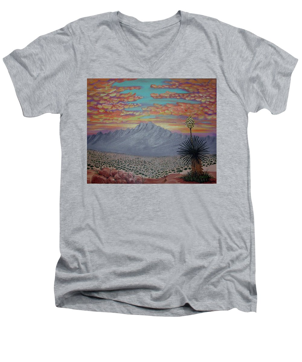 Desertscape Men's V-Neck T-Shirt featuring the painting Evening In The Desert by Marco Morales