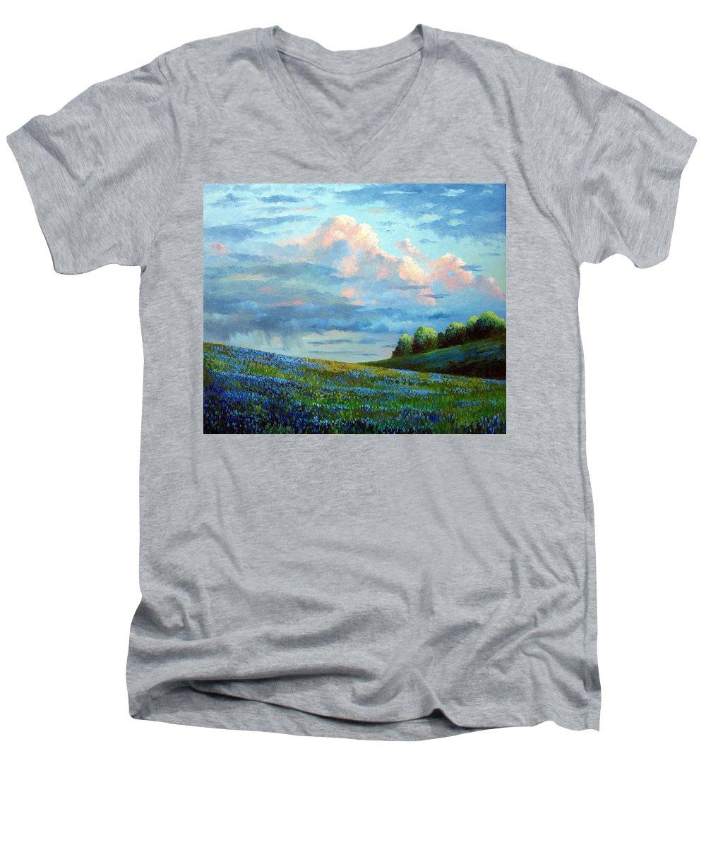 Landscape Men's V-Neck T-Shirt featuring the painting Evening Rain by David G Paul