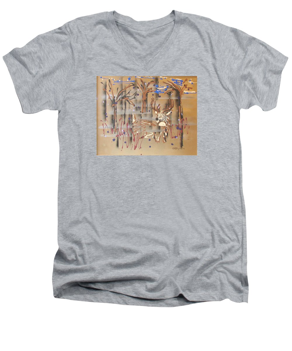 Buck In Tree Line Men's V-Neck T-Shirt featuring the painting Everwatchful by J R Seymour