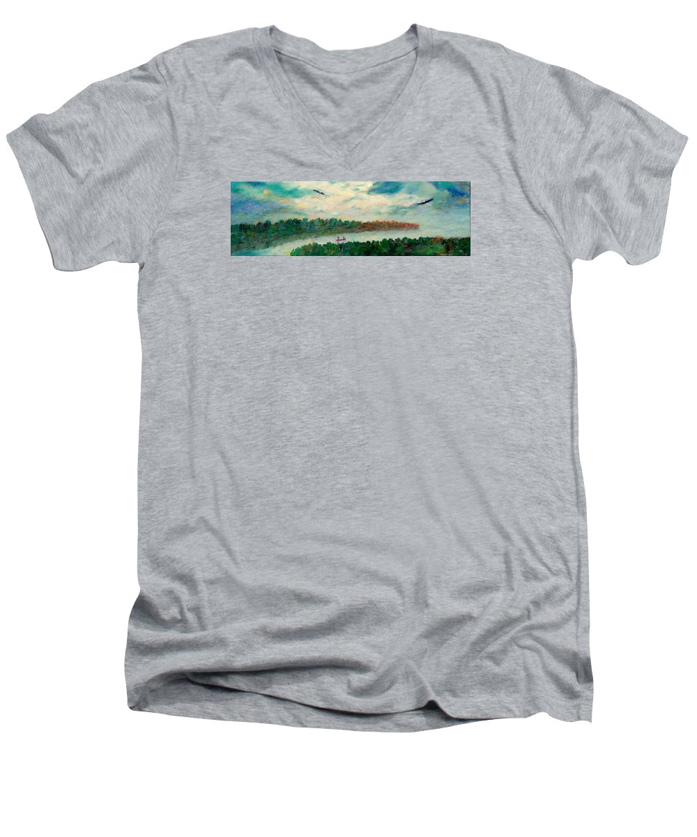 Canoeing On The Big Canadian Lakes Men's V-Neck T-Shirt featuring the painting Exploring Our Lake by Naomi Gerrard