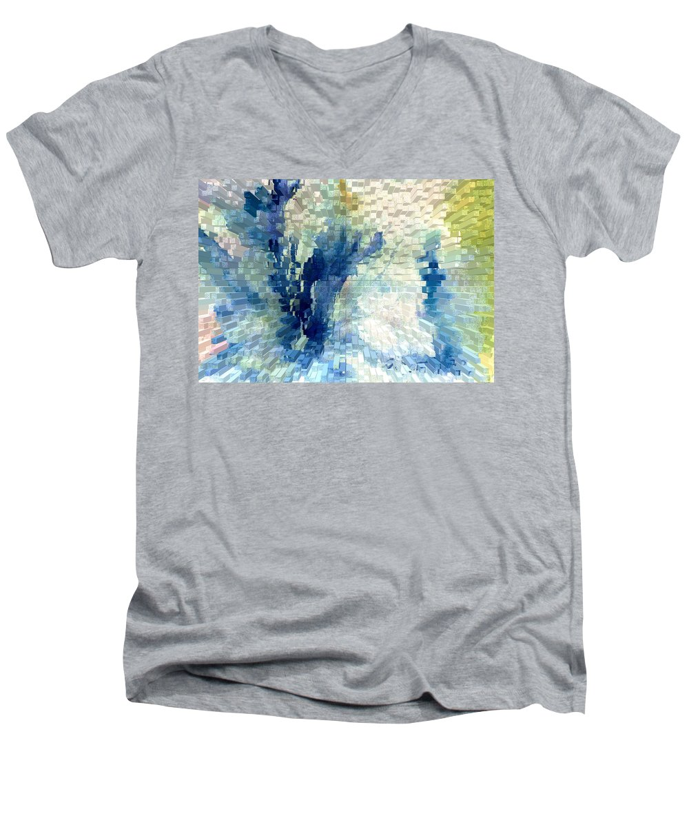 Abstract Men's V-Neck T-Shirt featuring the painting Extrude by Steve Karol