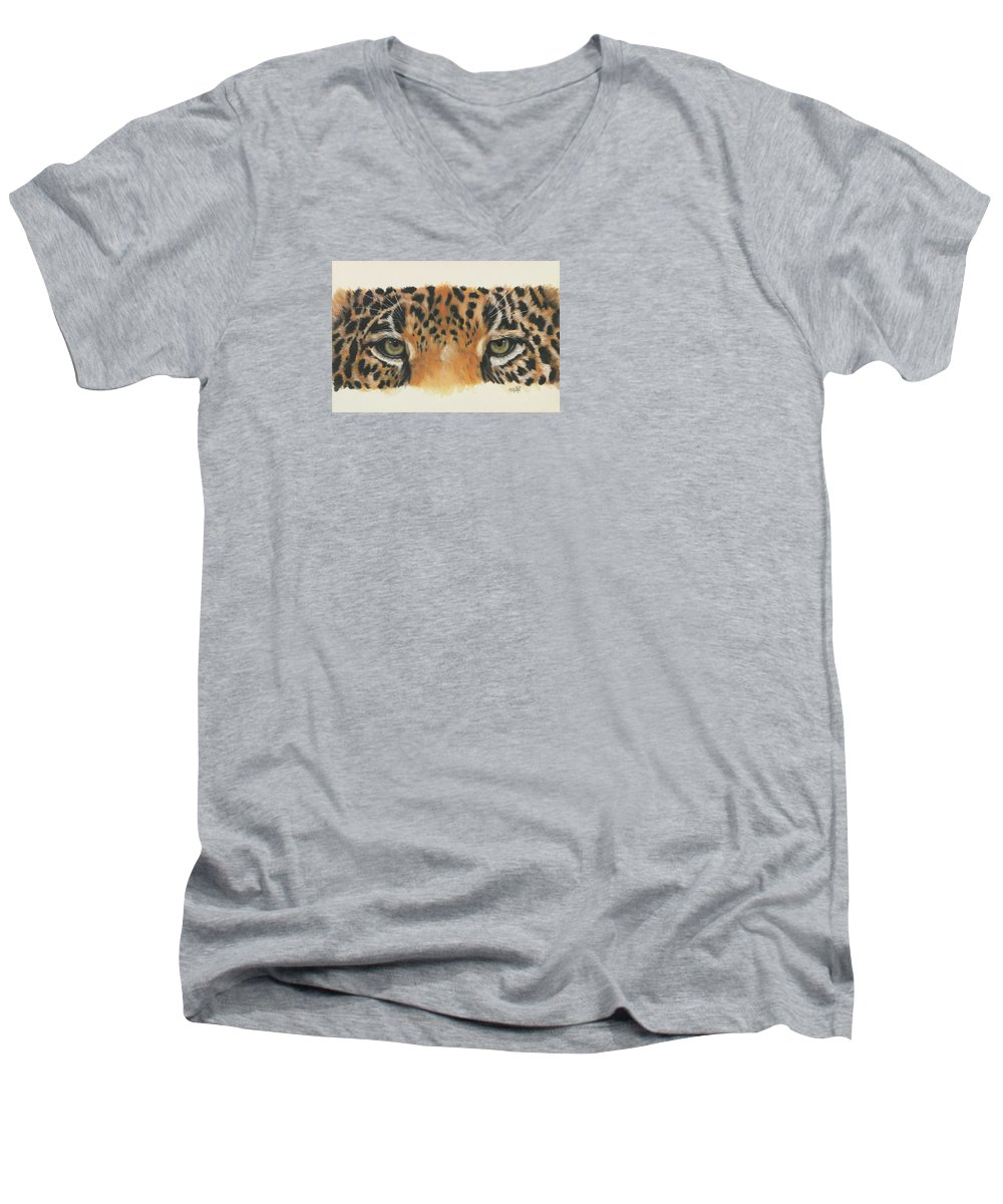 Jaguar Men's V-Neck T-Shirt featuring the painting Eye-catching Jaguar by Barbara Keith