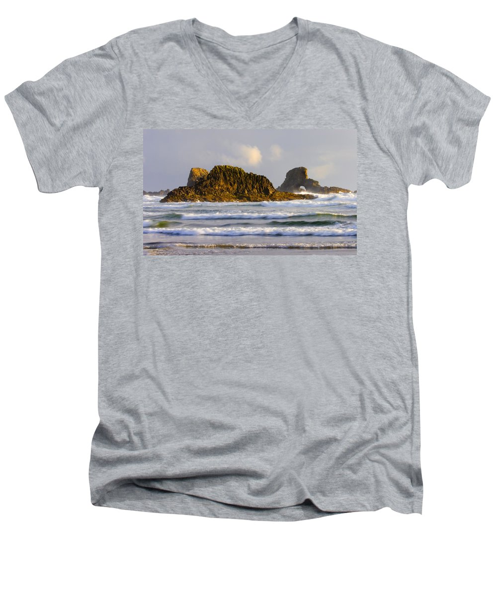 Seastacks Men's V-Neck T-Shirt featuring the photograph Eye Of The Storm by Mike Dawson