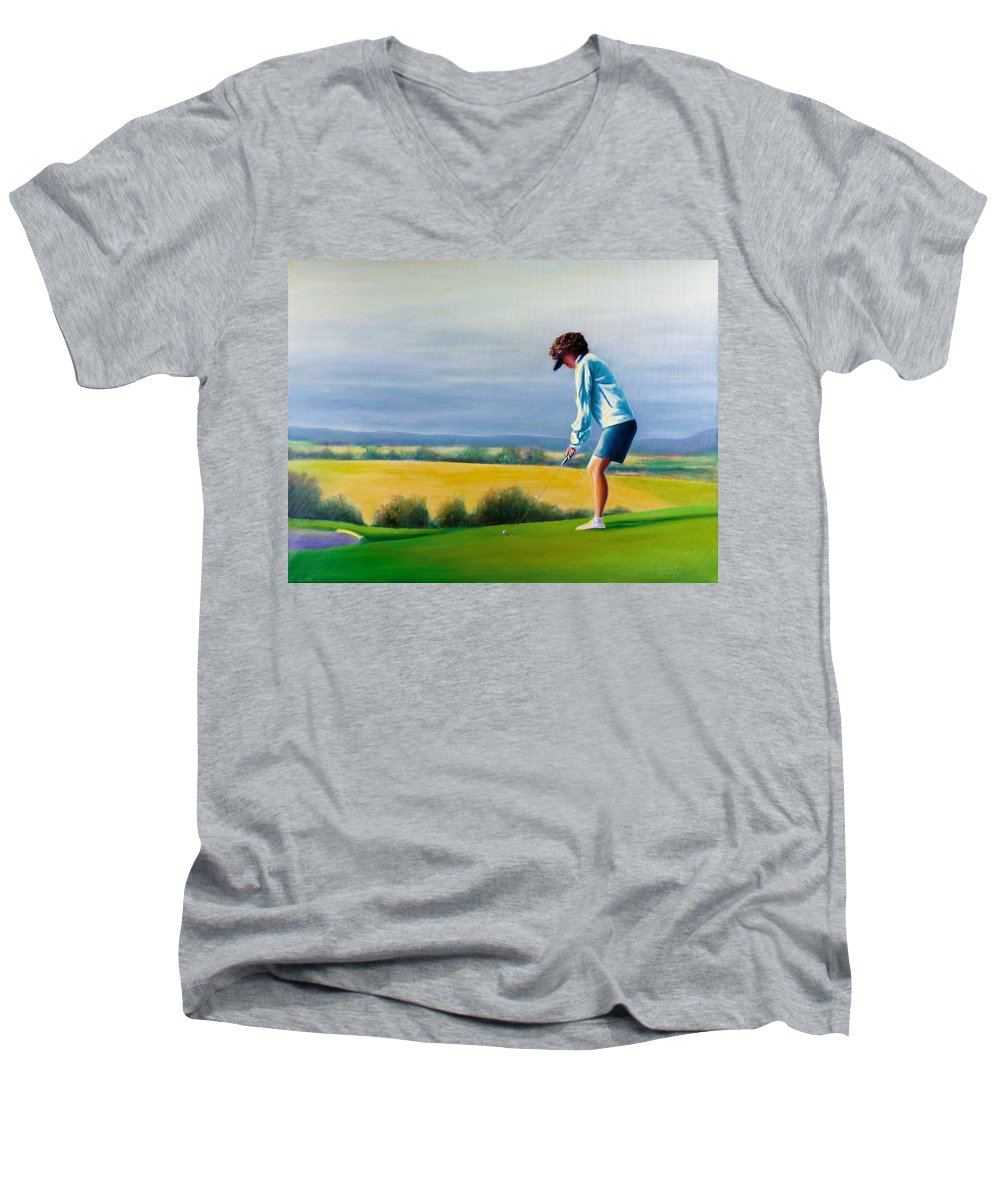 Golfer Men's V-Neck T-Shirt featuring the painting Fairy Golf Mother by Shannon Grissom