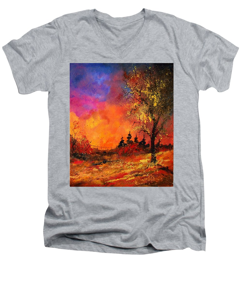 River Men's V-Neck T-Shirt featuring the painting Fall by Pol Ledent