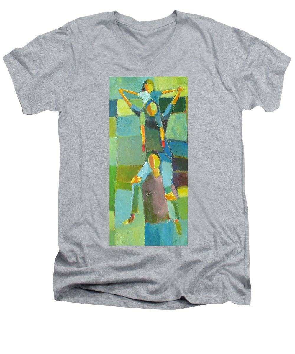 Abstract Men's V-Neck T-Shirt featuring the painting Family Joy by Habib Ayat