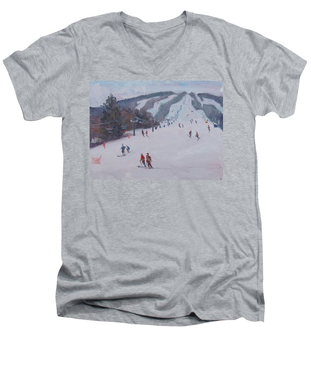 Landscape Men's V-Neck T-Shirt featuring the painting Family Ski by Dianne Panarelli Miller