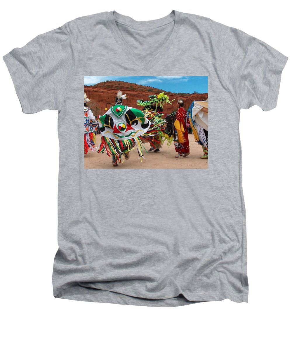 Fancy Shawl Dancer Men's V-Neck T-Shirt featuring the photograph Fancy Shawl Dancer At Star Feather Pow-wow by Tim McCarthy