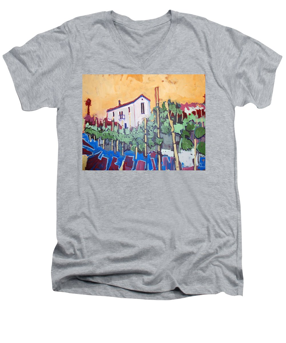 Farm House Men's V-Neck T-Shirt featuring the painting Farm House by Kurt Hausmann