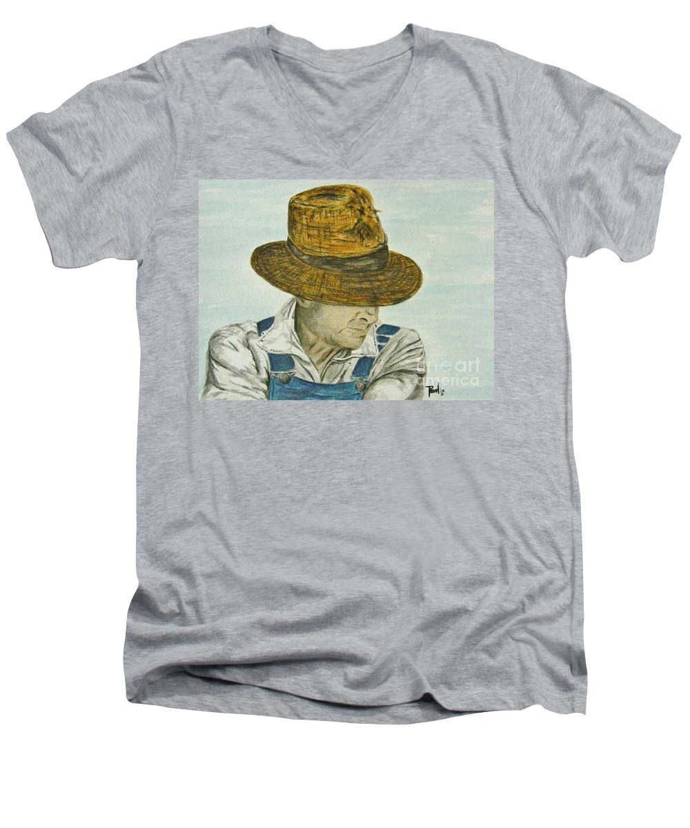Portrait Men's V-Neck T-Shirt featuring the painting Farmer Ted by Regan J Smith