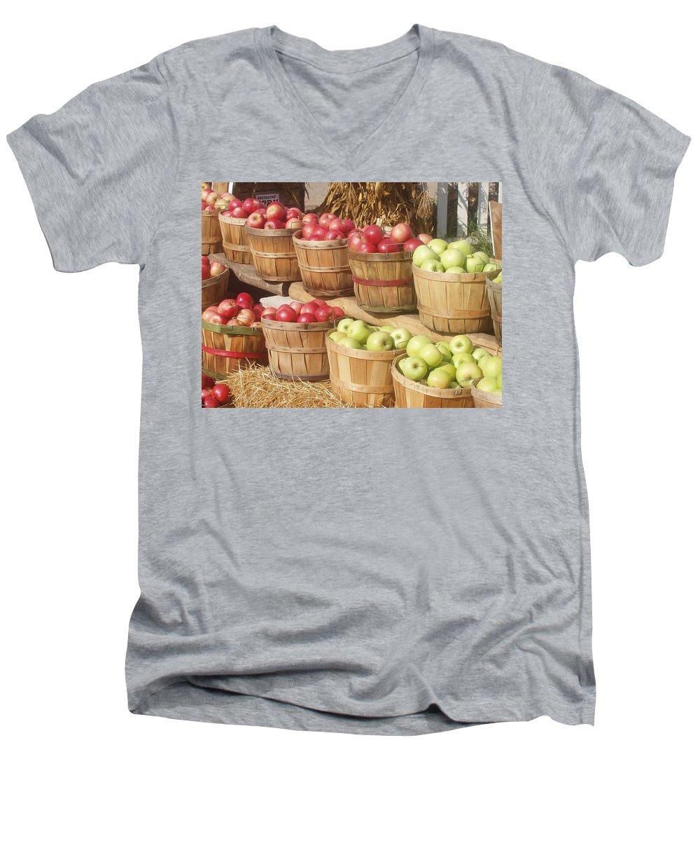 Farmers Market Men's V-Neck T-Shirt featuring the photograph Farmer's Market Apples by Wayne Potrafka