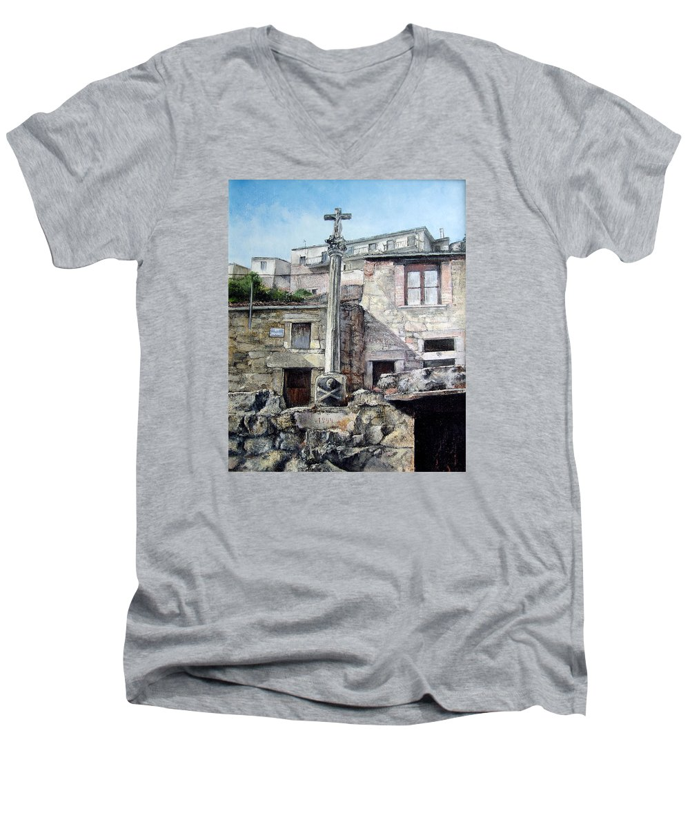 Fermoselle Men's V-Neck T-Shirt featuring the painting Fermoselle.-crucero by Tomas Castano