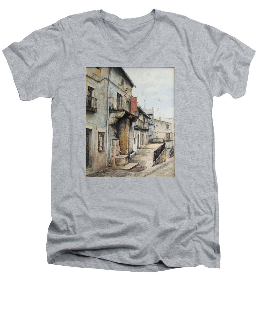 Fermoselle Zamora Spain Oil Painting City Scapes Urban Art Men's V-Neck T-Shirt featuring the painting Fermoselle by Tomas Castano