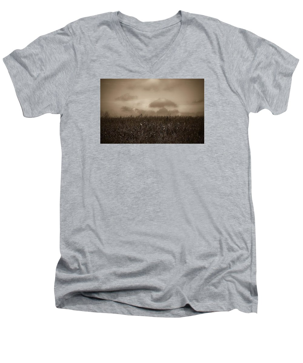 Poland Men's V-Neck T-Shirt featuring the photograph Field In Sepia Northern Poland by Michael Ziegler
