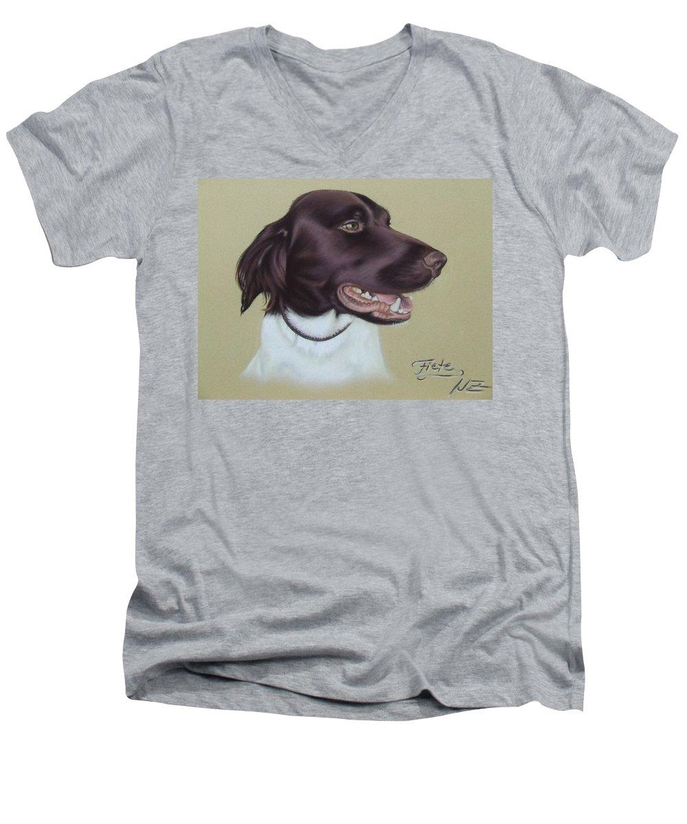 Dog Men's V-Neck T-Shirt featuring the pastel Fiete by Nicole Zeug