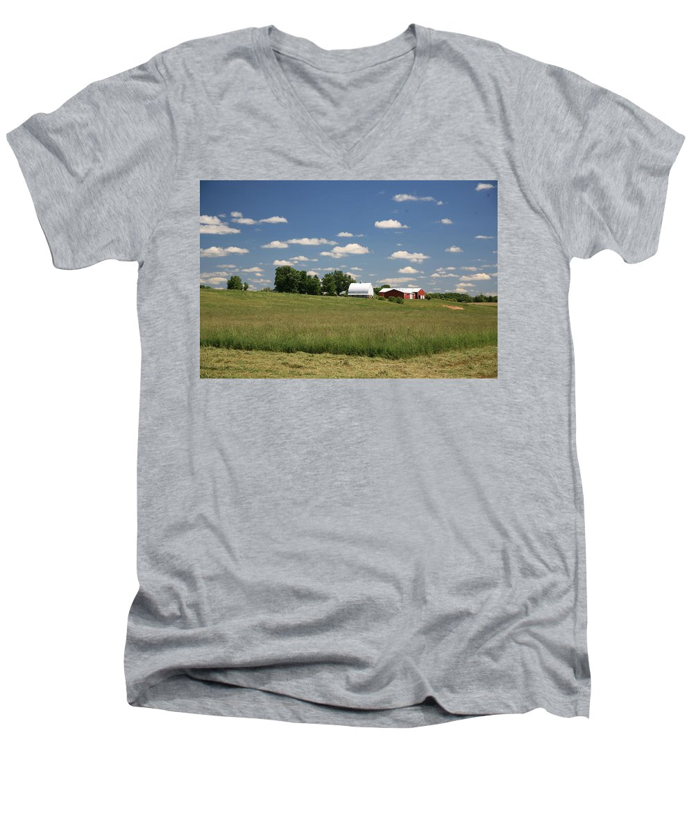 Farm Men's V-Neck T-Shirt featuring the photograph First Cutting by Robert Pearson