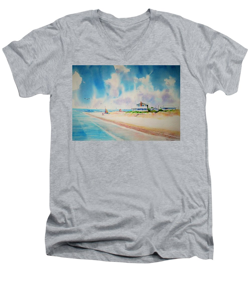 Beach Men's V-Neck T-Shirt featuring the painting First Day Of Vacation Is Pricless by Tom Harris