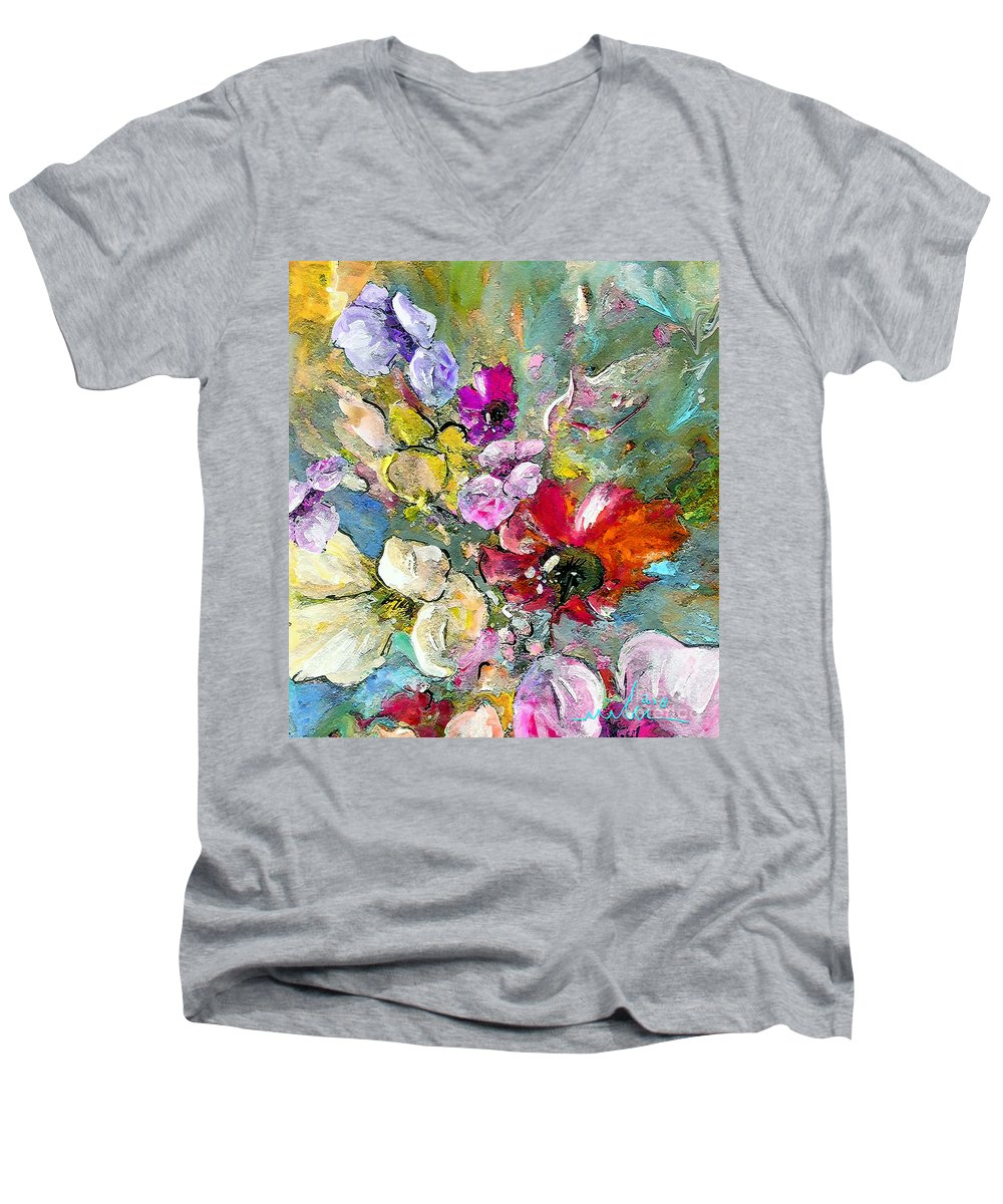 Nature Painting Men's V-Neck T-Shirt featuring the painting First Flowers by Miki De Goodaboom