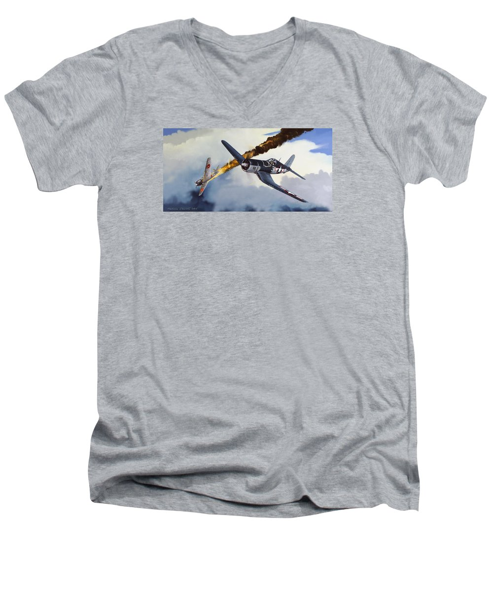 Military Men's V-Neck T-Shirt featuring the painting First Kill For The Jolly Rogers by Marc Stewart