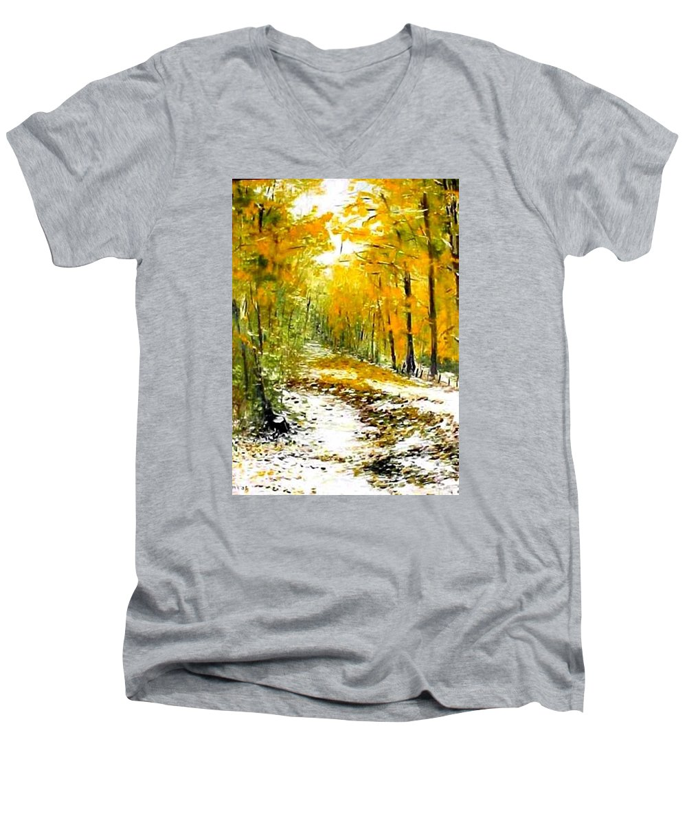 Landscape Men's V-Neck T-Shirt featuring the painting First Snow by Boris Garibyan