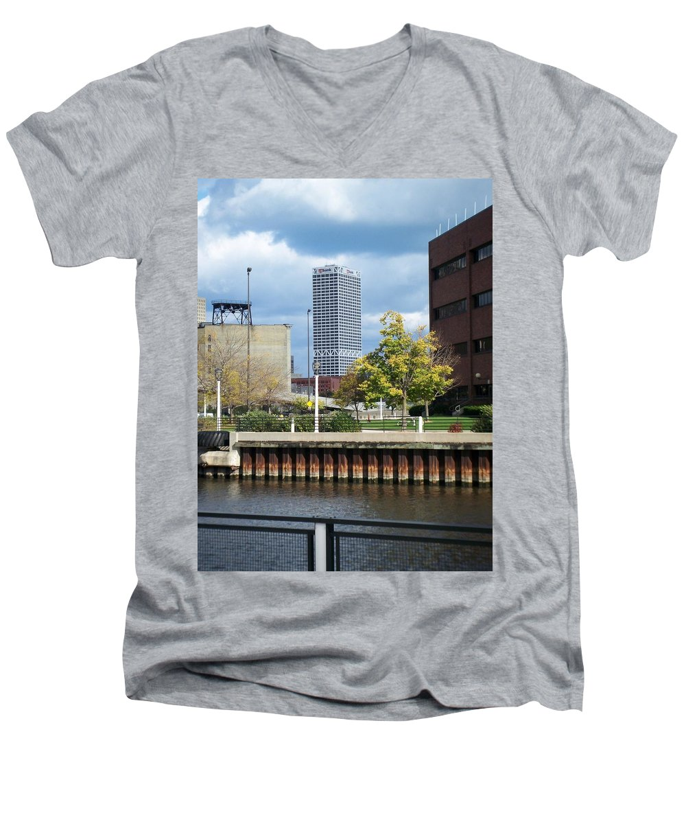 First Star Bank Men's V-Neck T-Shirt featuring the photograph First Star Tall View From River by Anita Burgermeister
