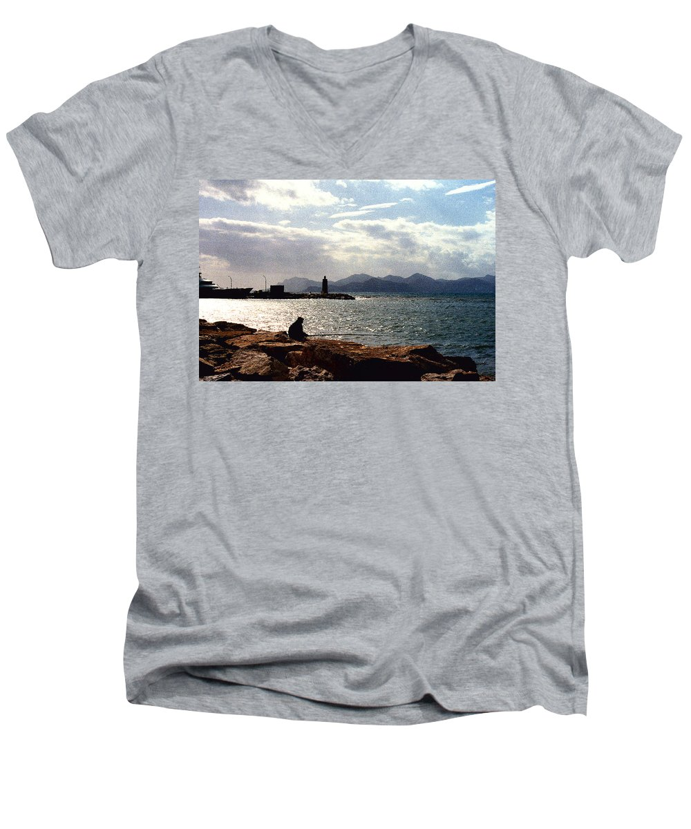 Fisherman Men's V-Neck T-Shirt featuring the photograph Fisherman In Nice France by Nancy Mueller