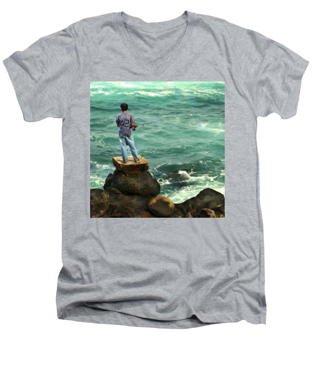 Americana Men's V-Neck T-Shirt featuring the photograph Fisherman by Marilyn Hunt